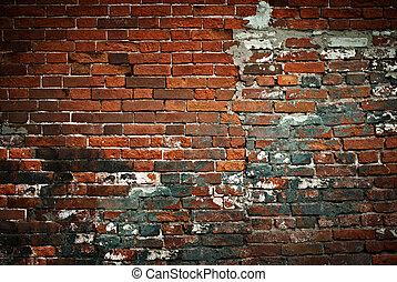 壁, れんが, 年を取った