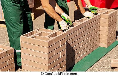 壁, れんが, 広がり, 建築者