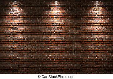 壁, れんが, 照らされた