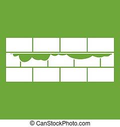壁, れんが, 緑, アイコン