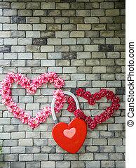壁, れんが, 花, 心の形をしている