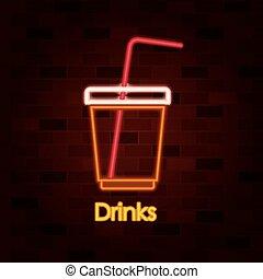 壁, れんが, 飲み物, ネオン 印