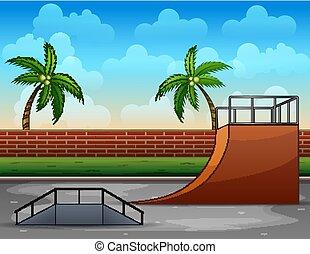 壁, れんが, skatepark, 漫画