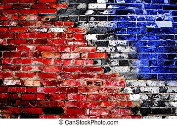 壁, アメリカ人, 古い, れんが