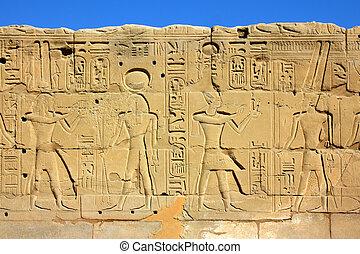 壁, エジプト, イメージ, 古代, hieroglyphics
