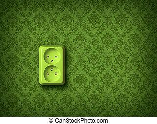 壁, エネルギー, 概念, 緑, ソケット
