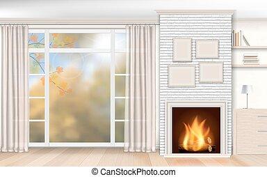 壁, カーテン, 白い煉瓦, 背景