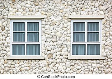 壁, カーテン, 石, 窓