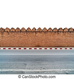 壁, コンクリートれんが, 古い, 歩道