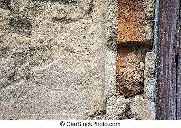 壁, コンクリート, 傷つけられる, 古い