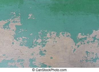 壁, コンクリート, 割れた, 古い, ペンキ