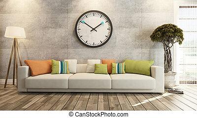 壁, コンクリート, 大きい, レンダリング, 暮らし, 腕時計, 部屋, 3d
