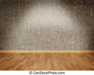 壁, コンクリート, 寄木細工の床の 床