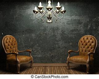 壁, コンクリート, 椅子, 古い
