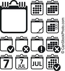 壁, セット, カレンダー, ベクトル, アイコン