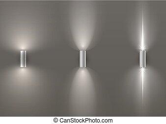 壁, セット, ランプ