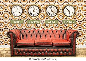 壁, ソファー, clocks, レトロ, 時間, 世界, chesterfield