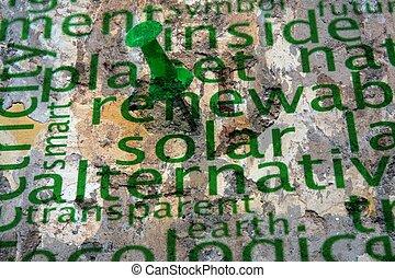 壁, テキスト, エネルギー, 回復可能