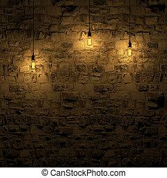 壁, ハイライトした, 石, 3d, レンダリング