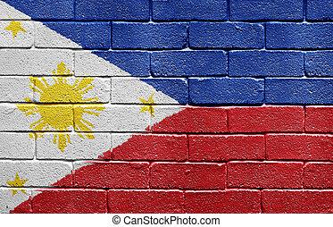 壁, フィリピン, れんが, 旗