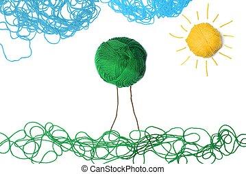 壁, フィールド, ボール, 緑