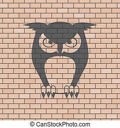 壁, フクロウ, ドロー, れんが