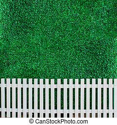 壁, ブッシュ, 白い背景, フェンス