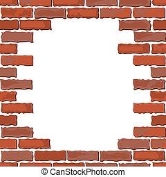 壁, ブラウン, れんが