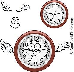 壁, ブラウン, 縁, 漫画, 時計