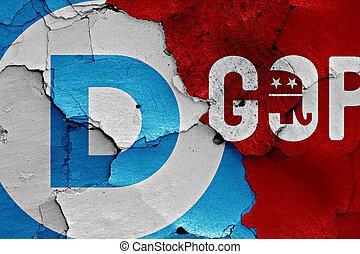壁, ペイントされた, gop, 割れた, 民主主義者, 旗