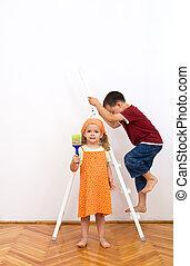 壁, ペンキ, 忙しい, 準備, 子供
