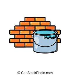 壁, ペンキ 鍋, 隔離された, アイコン