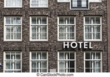 壁, ホテル, 印, 外面, れんが, 光景