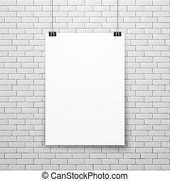 壁, ポスター, イラスト, ベクトル, ブランク, 白い煉瓦