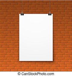 壁, ポスター, ブランク, 白い煉瓦, 赤