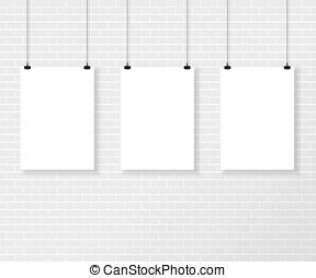 壁, ポスター, 白い煉瓦, 3