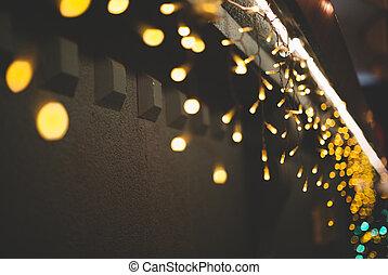 壁, ライト, クリスマス