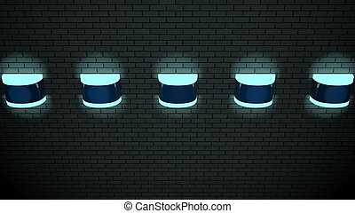 壁, ライト, ネオン, 未来派