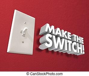 壁, ライト, 作りなさい, スイッチ, 取得, 行動, 変化しなさい, パネル