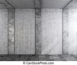 壁, ライト, columns., イラスト, wall., コンクリート, 落ちる, 3d