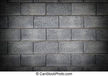 壁, レンガ, 作られた, セメント