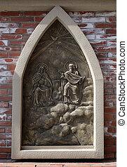 壁, 上海, st. 。, ignatius, 外の, 大聖堂, 三位一体, 陶磁器, 神聖