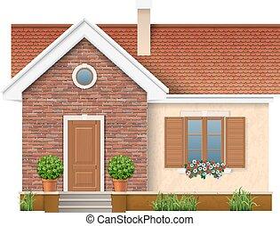 壁, 住宅の, 小さい, れんが造りの家