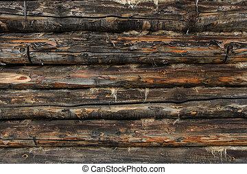 壁, 作られた, 木材を伐採する