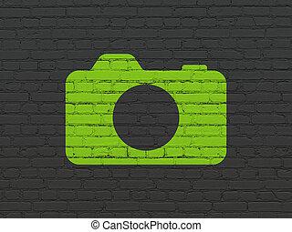 壁, 写真カメラ, 背景, 観光事業, concept: