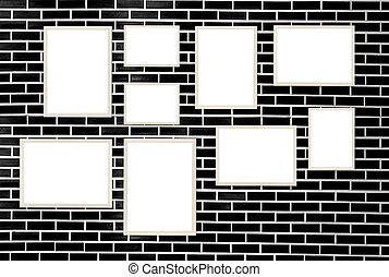 壁, 写真フレーム, れんが, 背景