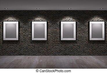 壁, 写真フレーム, 古い, れんが