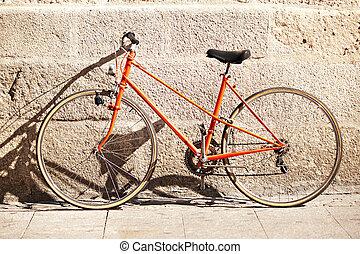 壁, 前部, 自転車, 赤