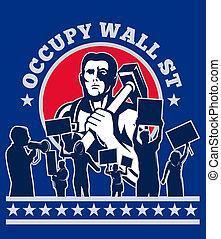 壁, 労働者, 占めなさい, 抗議, 通り, 抗議者, ハンマー