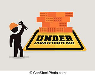 壁, 労働者, 建設, レンチ, 下に, れんが